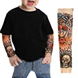 EZI 2 Pcs Fake Nylon Kid Temporary Fake Tattoo Sleeves Arm Stockings Goth Punk Cool Child # 7600522