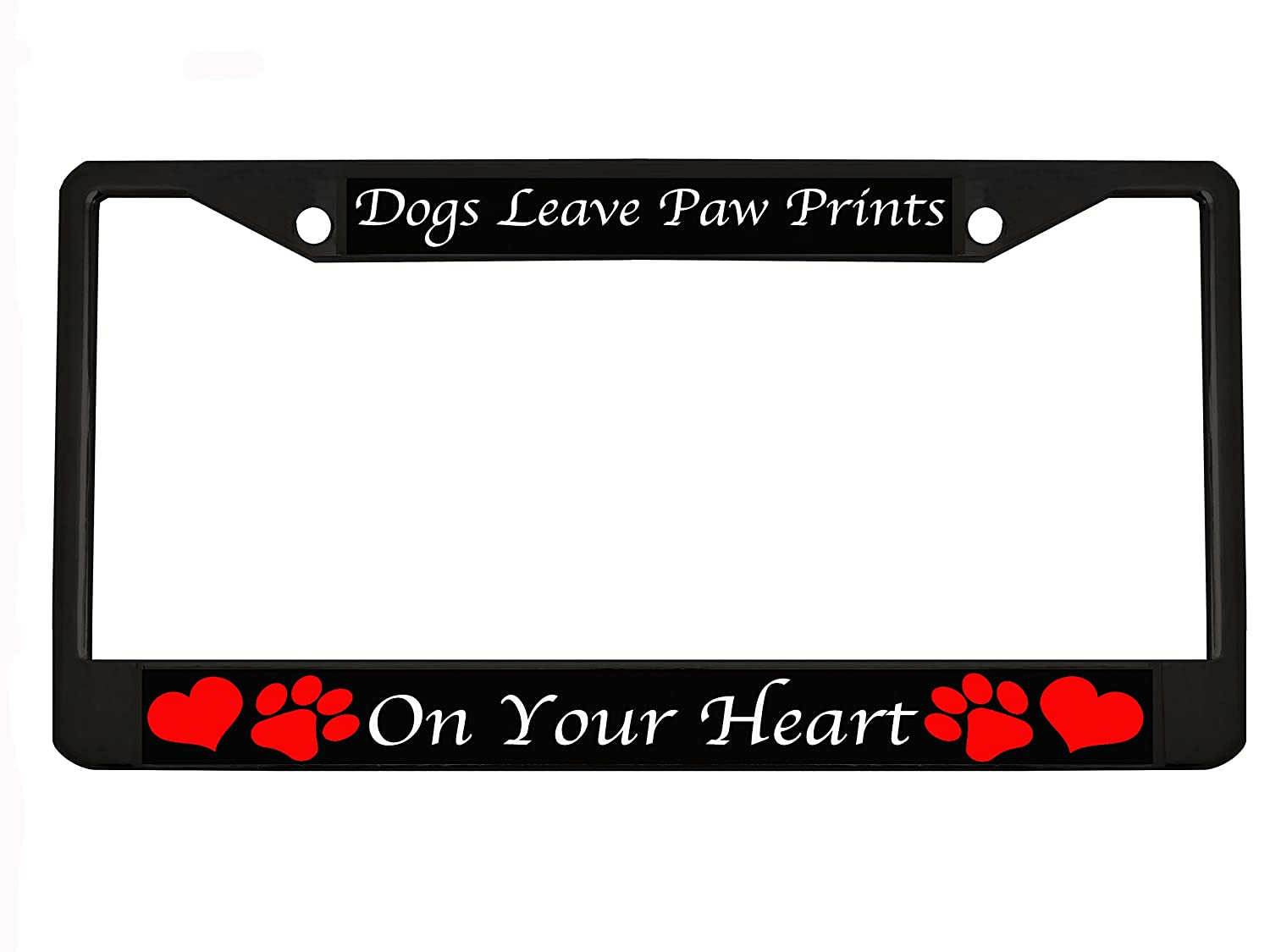 Dog leave paw prints on your heart Black Metal Auto License Plate Frame Car Tag Holder