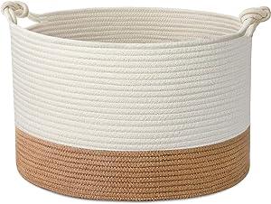 "UBBCARE Woven Blanket Basket XXL Decorative Laundry Basket Cotton Rope Storage Basket with Twist Handle 20"" x 13"""