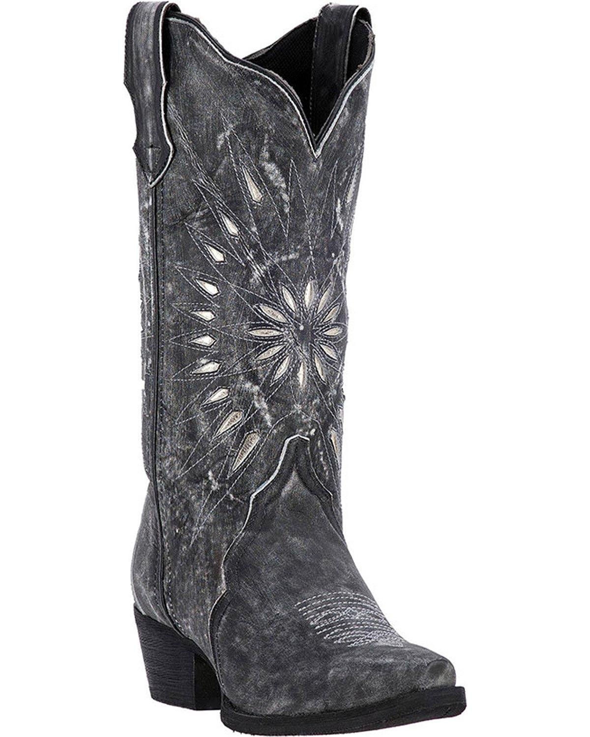 Laredo Womens Black Starburst Leather Cowboy Boots 12in Cutout 9 M