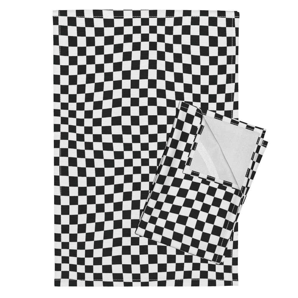 Roostery Racing Flag Wavy Wave Tea Towels Race Car Checkered Flag Checkerboard Game Bw Black White Wavy Op Art Children Fan Kid Child by Wren Leyland Set of 2 Linen Cotton Tea Towels