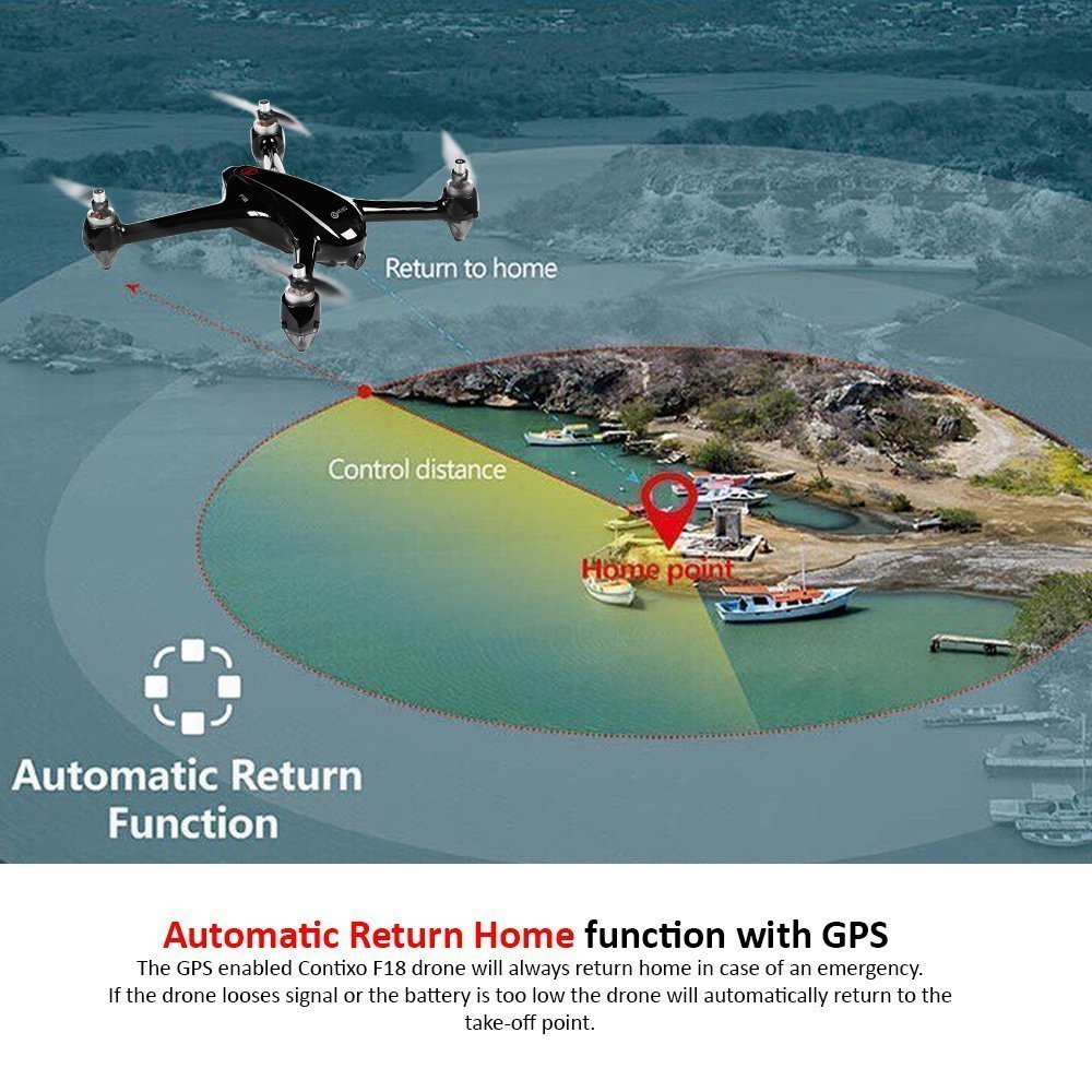 Holiday Special! Contixo F18 Advanced GPS Assisted RC Quadcopter 1080P HD Live FPV 5GHz Wifi Video Camera Drone Smart RTH Hovering Brushless Motors-Carrying Back Pack $50 Value Best Gift For Christmas by Contixo (Image #3)