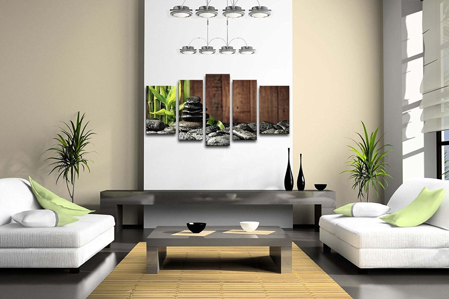 5 Panel Wall Art Green Spa Concept Bamboo Grove And Black Zen Stones On The Old Wooden Background Painting Pictures Print On Canvas Botanical The Picture For Home Modern Decoration piece