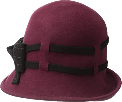 f496dfab SCALA Women's Wool Felt Cloche with Contrast Stitch Burgundy One Size at Amazon  Women's Clothing store: