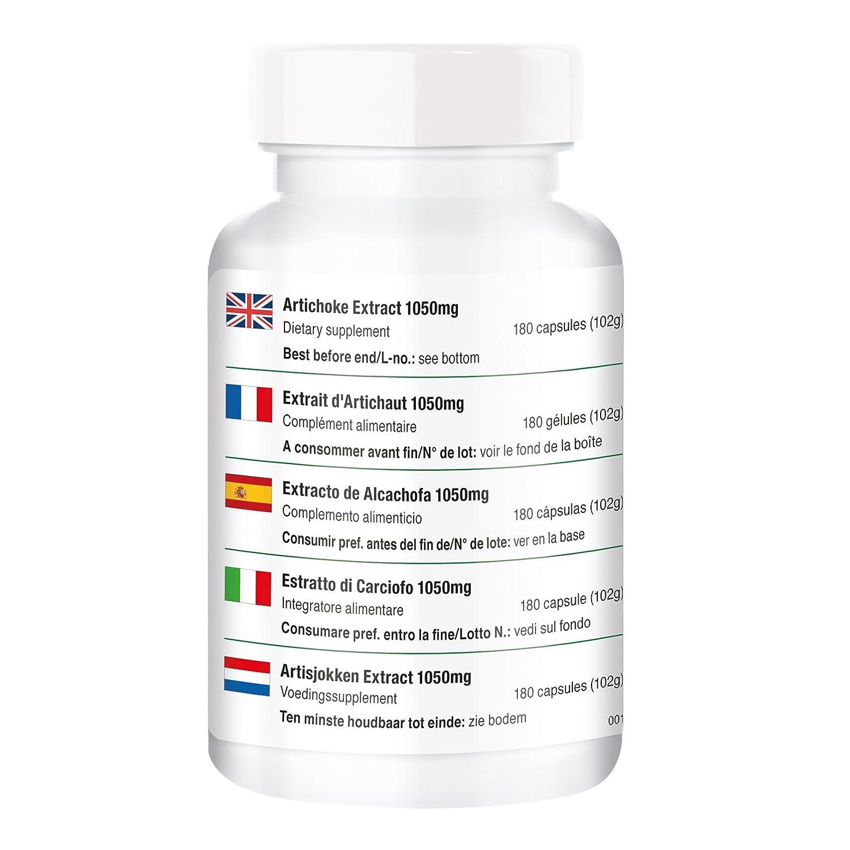 Extracto de alcachofa - 180 cápsulas - Cynara scolymus - ¡para 2 MESES! - flavonoides, sustancias amargas y lactonas sesquiterpénicas - para estimular el ...