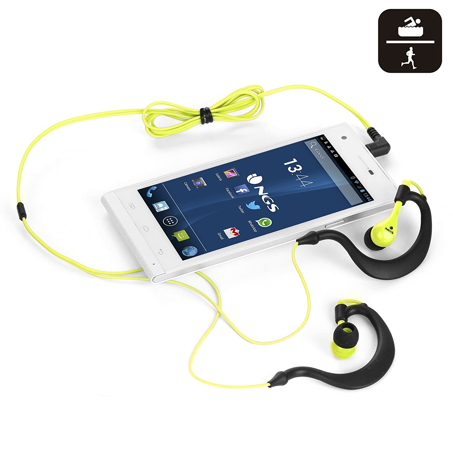 NGS Triton - Auriculares in-Ear Deportivos, Color Negro y Amarillo: Amazon.es: Electrónica