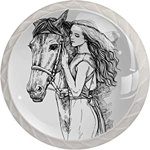 Dresser Drawers Knob Girl and Horse Sketch Furniture Handles Easy Install Door Pulls for Kids 4 Pieces 35mm