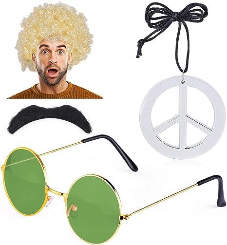 Haichen Hippie Disfraz Hombre 1970s 60s Afro Peluca Hippy Gafas de ...