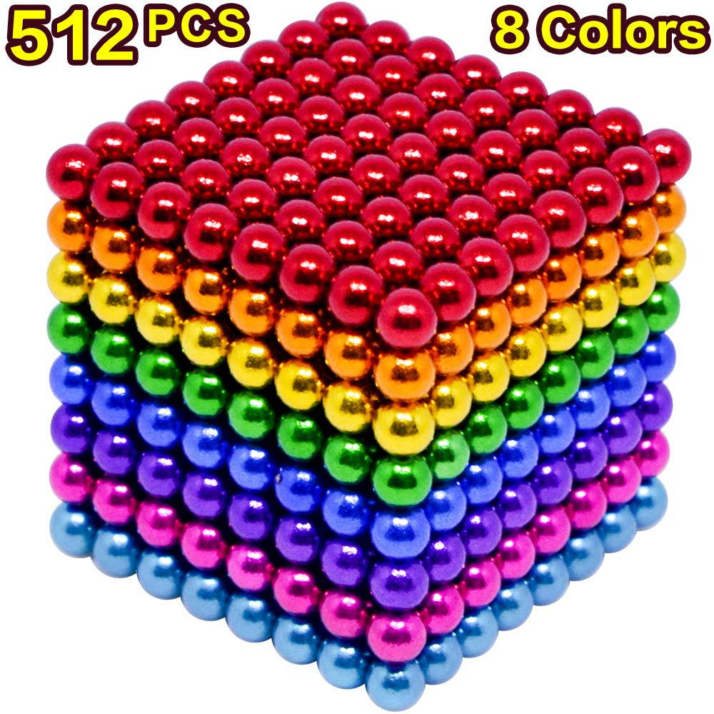 MYYAGEW 5MM 512 Pcs 8 Color Magnetic Fidget Gadget Toys Magnetic Toy Sculpture Building Blocks Cube Gift for Office Desk Toys for Adult by MYYAGEW