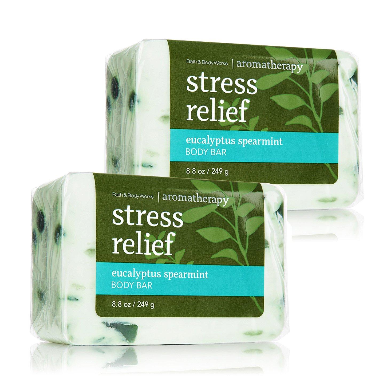 Bath & Body Works Aromatherapy Stress Relief Eucalyptus Spearmint Body Bar, 2 Pack : Beauty