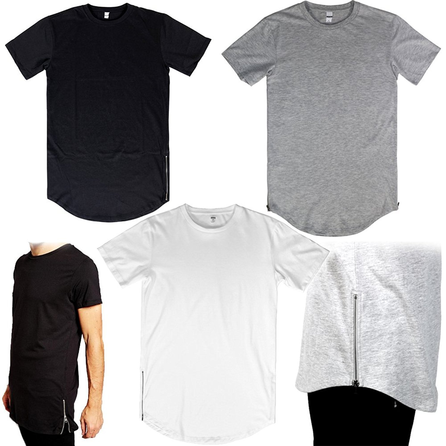 Amazon.com  Urban Men s elongated T-Shirt 3 pack Long Extended Zipper Tee   Clothing af1fb8eaf