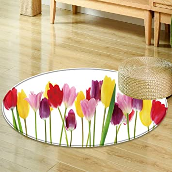 Amazon.com  Small Round Rug Carpet Colorful Fresh Spring Tulips ... e897fae0ca4c