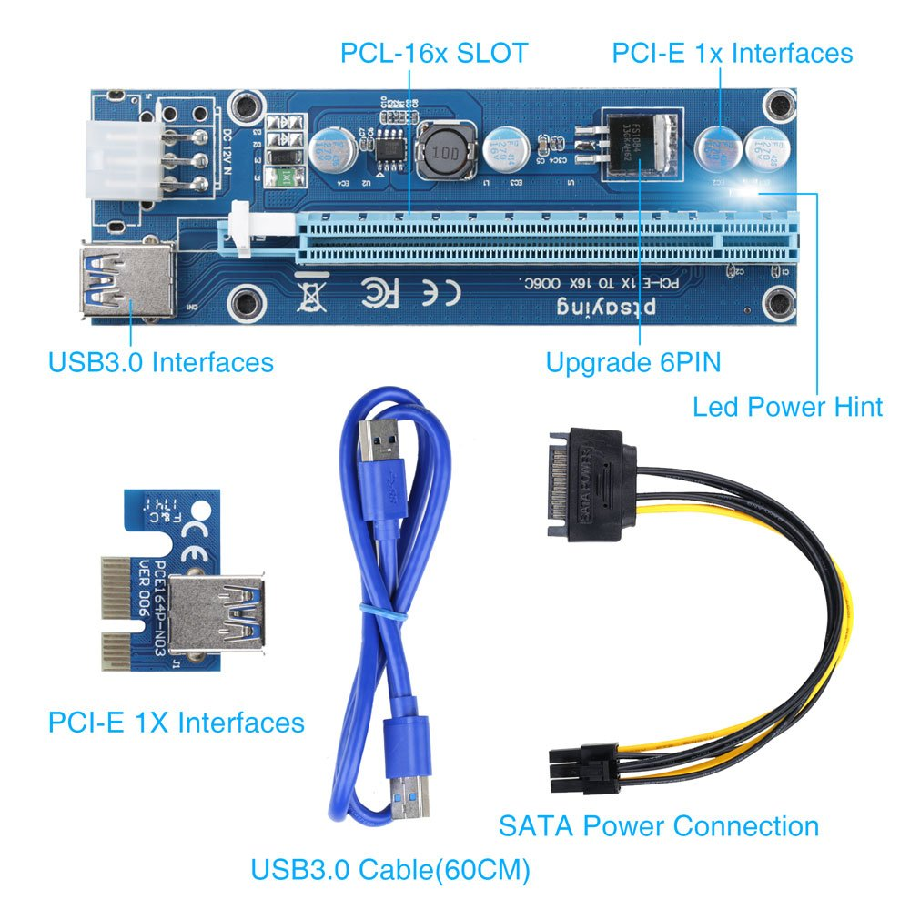 PCIe Riser Ptsaying PCI-E 16x 8x 4x 1x Powered Riser Adapter Card With LED hint w/ 60cm USB 3.0 Extension Cable & 6-Pin PCI-E to SATA Power Cable - GPU Riser Adapter - Ethereum Mining ETH(3 pack) by Ptsaying (Image #2)