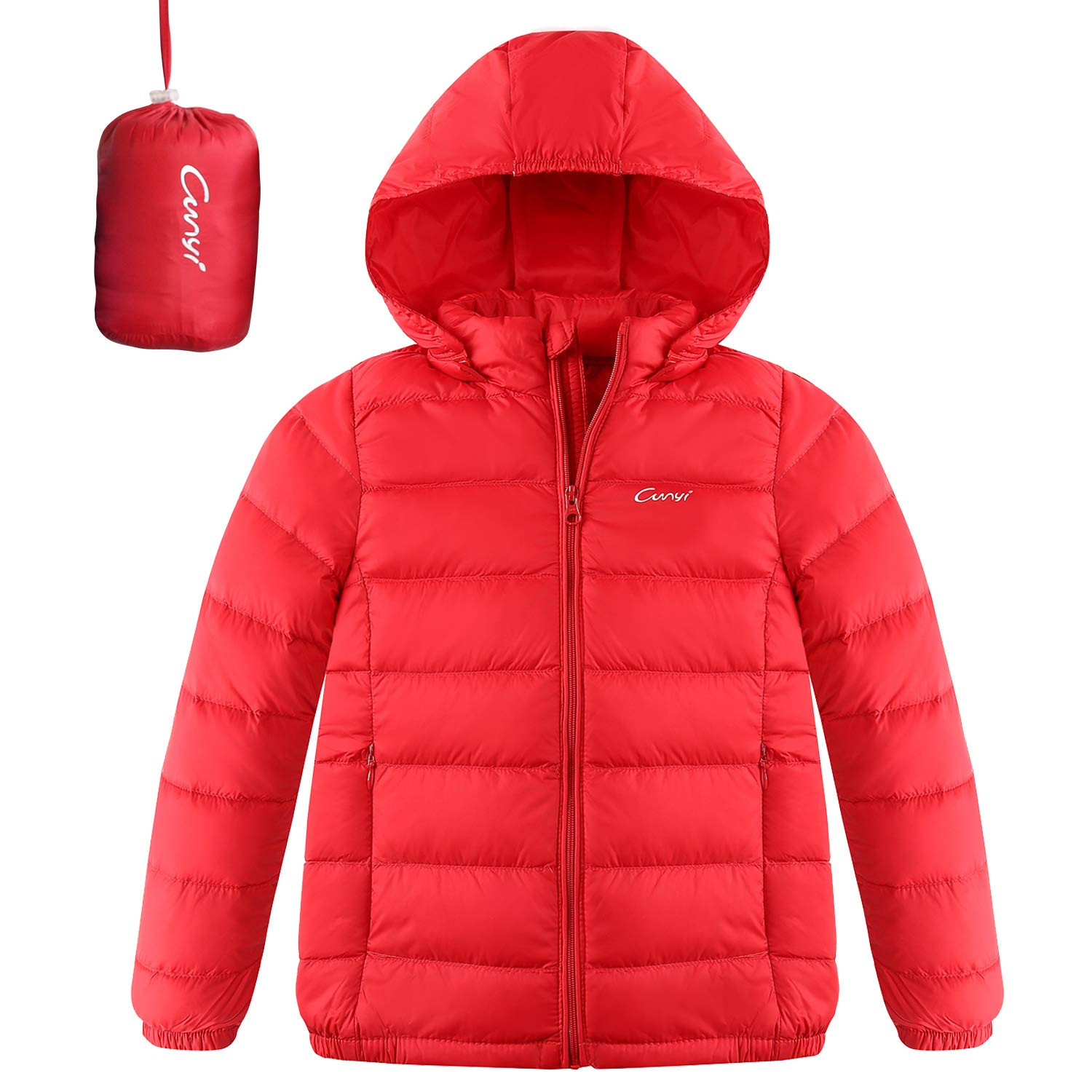 CUNYI Boys Girls Hooded Portable Lightweight Down Jacket Coats, Red, 4-5 T/ 110