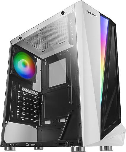 Mars Gaming MCLW, caja PC, cristal templado, ventilador 12cm, 46 efectos, blanco: Amazon.es: Informática