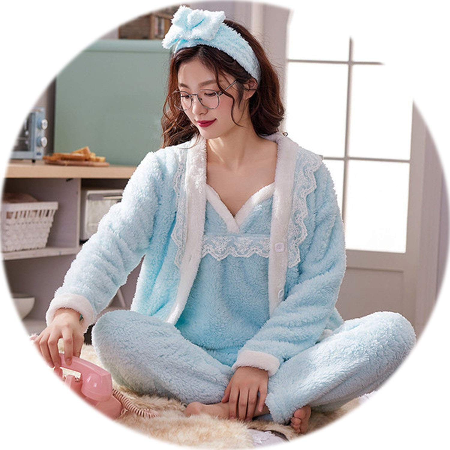 2 Be fearless Women Pajama Sets 4 Peices Flannel Pink Thick Warm Women Autumn Winter Pajamas Sleepwear