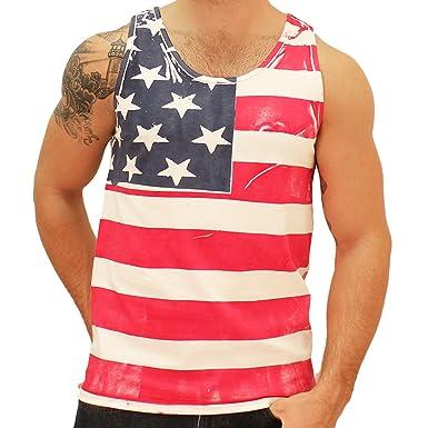 9f1f963e76147d Amazon.com  Mens American Flag Tank Top (Large)  Clothing
