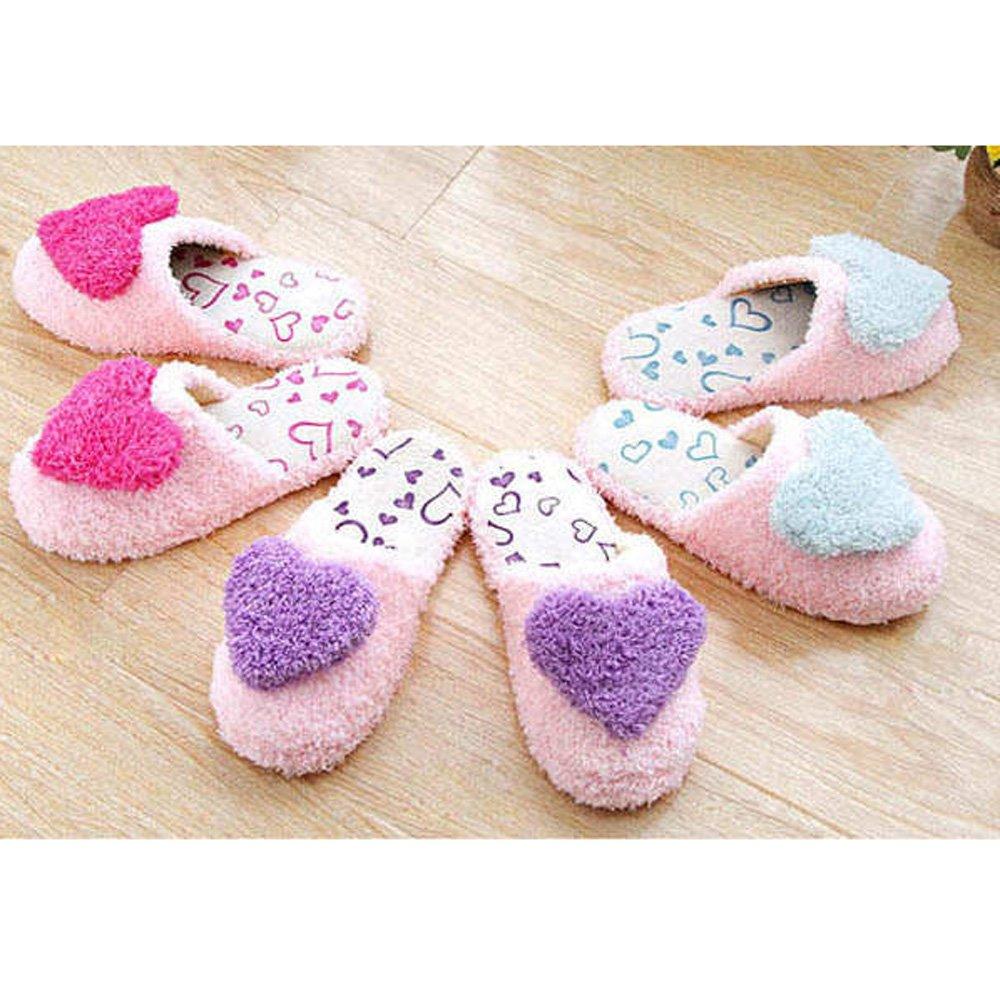 Size: 38-39 , Blue HuaYang 3D Love Heart Antislip Plush Velveteen Cotton Foot Feet Slippers for Home Travel