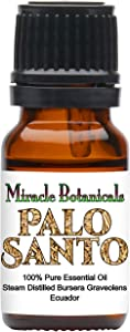 Miracle Botanicals Wildcrafted Palo Santo Essential Oil - 100% Pure Bursera Graveolens - Therapeutic Grade (10ml)