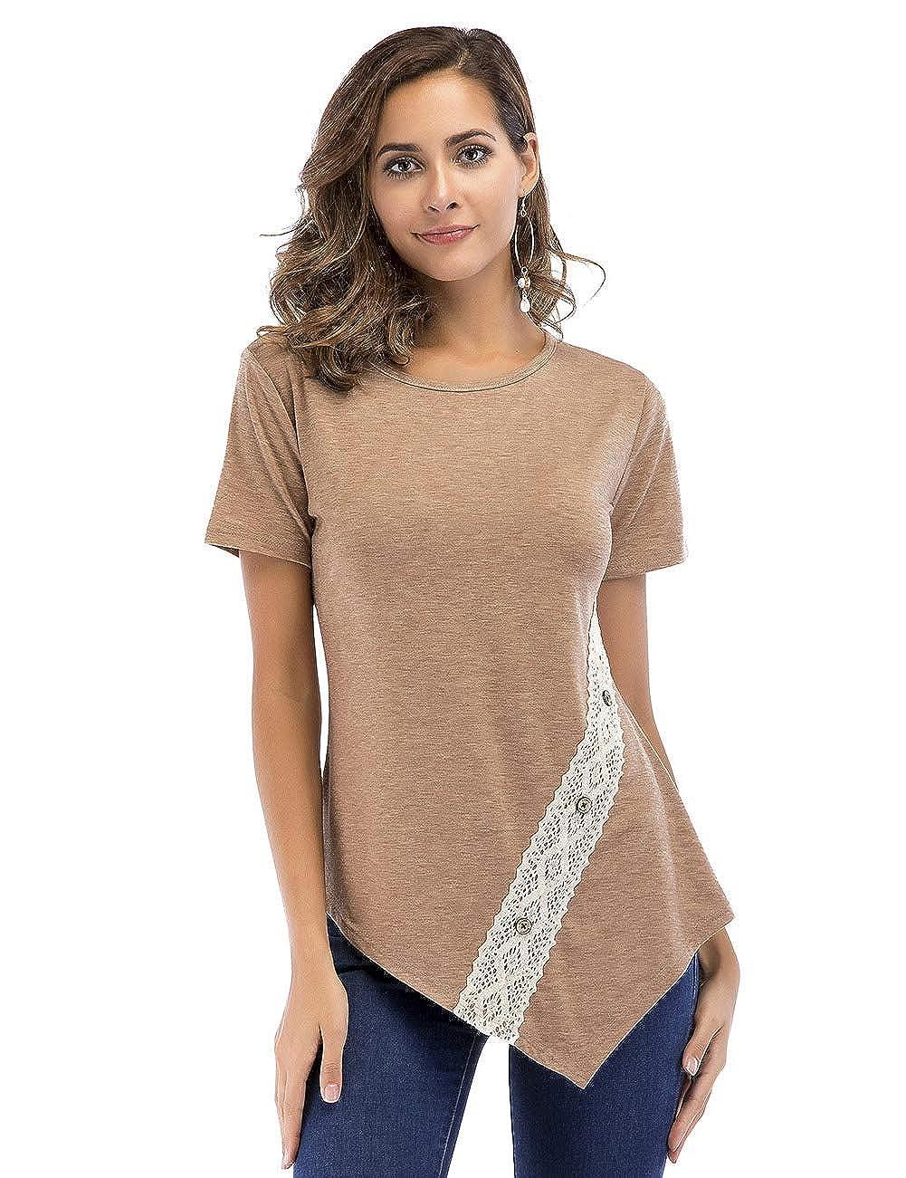 Brown YUMDO Women's Casual Short Sleeve Side Button T Shirt Blouse Tunics