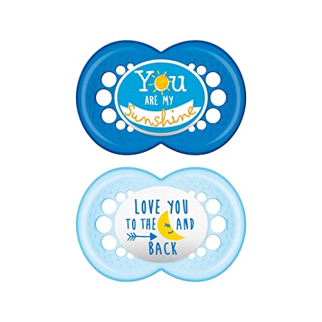 MAM Pacifiers, Baby Pacifier 6+ Months, Best Pacifier for Breastfed Babies, Attitude Design Collection, Boy, 2-Count