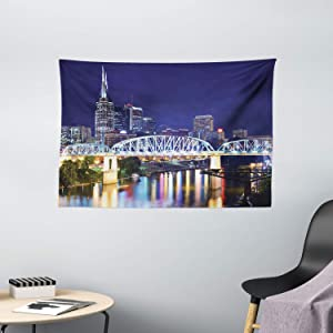Apartment Decor Tapestry by Ambesonne, Skyline Of Downtown Nashville, Tennessee, Usa. Reflection Travel Destinations, Wall Hanging for Bedroom Living Room Dorm, 60 X 40 Inch, Purple Green