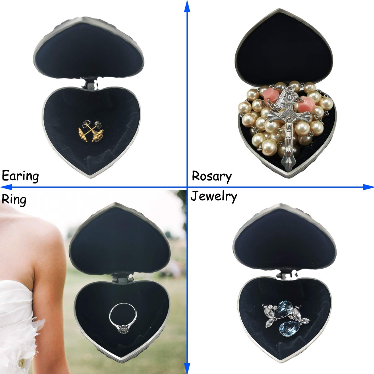Antique Rosary /& Trinket Keepsake Gift Boxes in Heart Shape Small Jewelry Box Gifts for Her Vintage Earring /& Ring Gift Box