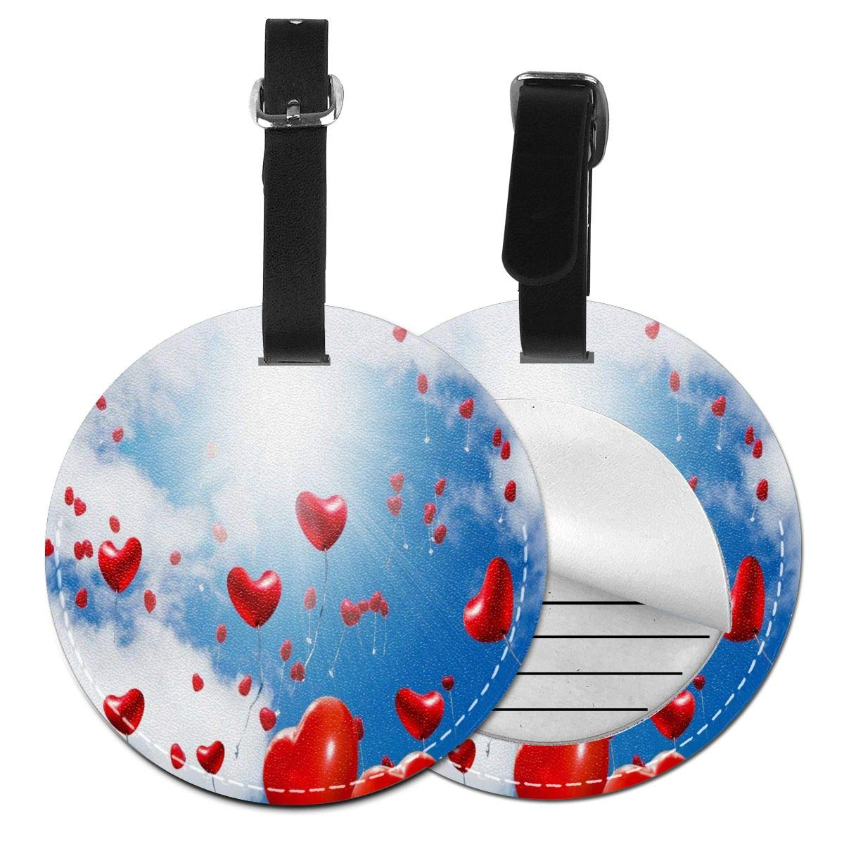 Flying Love Balloon PU Leather Round Luggage Tags Suitcase Backpacks Labels Bag 4 Pack by Rachel Dora