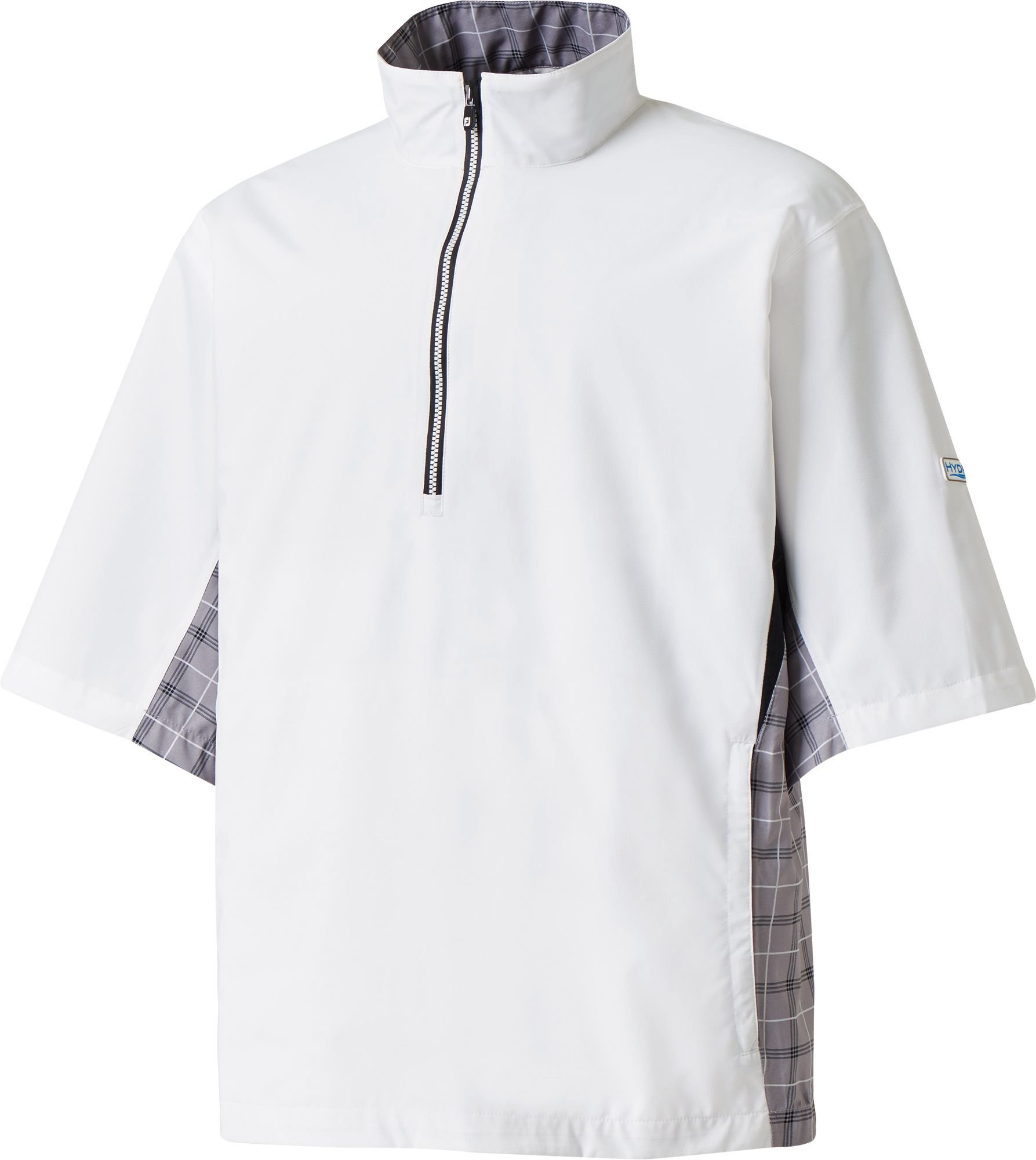 FootJoy Men's Hydrolite Short Sleeve Golf Rain Shirt (Medium, White/Grey Check/Black)