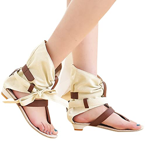 Summer Roma Sandals Bohemian Flat Womens Beach Bows Thong Flip flops Wedges Cloth Ankle Booties
