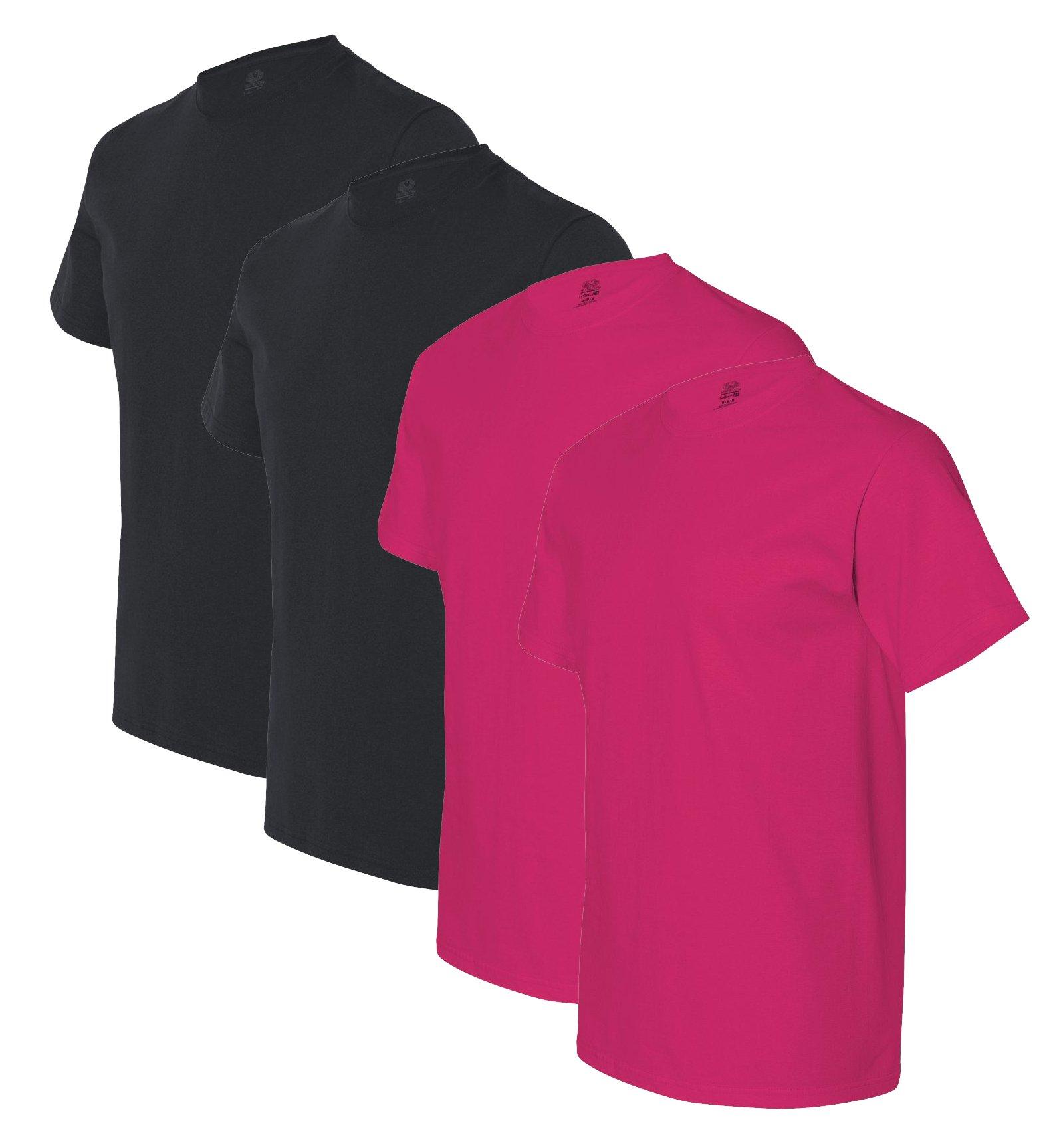Fruit of the Loom mens 5 oz. 100% Heavy Cotton HD T-Shirt(3931)-BLACK/CYBER PINK-3XL-2PK