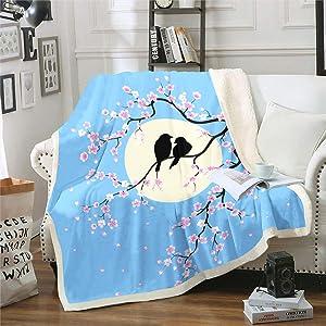 Erosebridal Japanese Cherry Blossom Fuzzy Blanket Couple Theme Blanket Bird Starry Sky Moon Plant Flower Sherpa Blanket, Decor Warm Throw Blanket for Sofa Chair Bed Office Twin, Blue