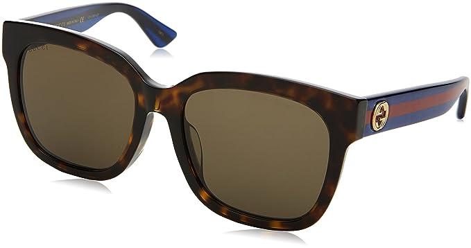 7f3d62cad73 Amazon.com  Gucci Sunglasses GG0034SA 003 Avana-Blue-Brown 55mm ...