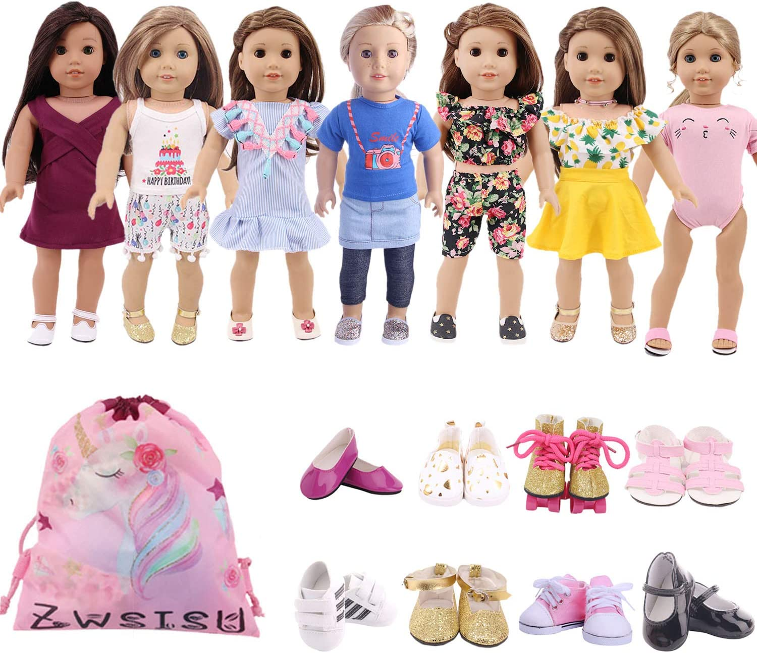 Fits American Girl Doll Clothes 7 Outfits 18 Inch Doll Clothes