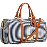 Womens Overnight Bag with Leather Shoulder Strap, LXY Weekender Travel Bag for Women Carry on Duffle Tote Underseat Bag(Blue)