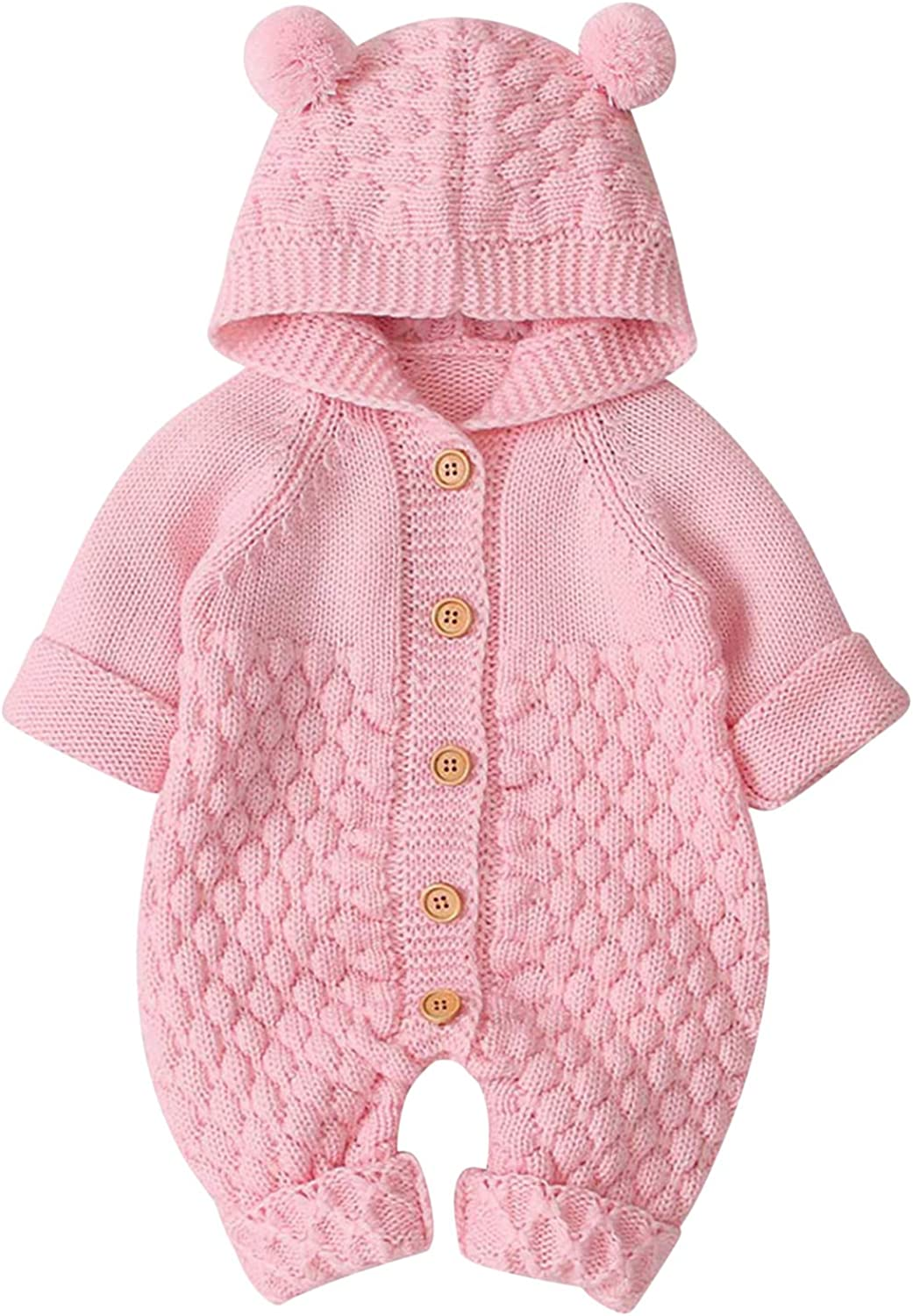 De feuilles Newborn Baby Hooded Knitted Romper Sweater Jumpsuit One-Piece Winter Outfit for Boys Girls