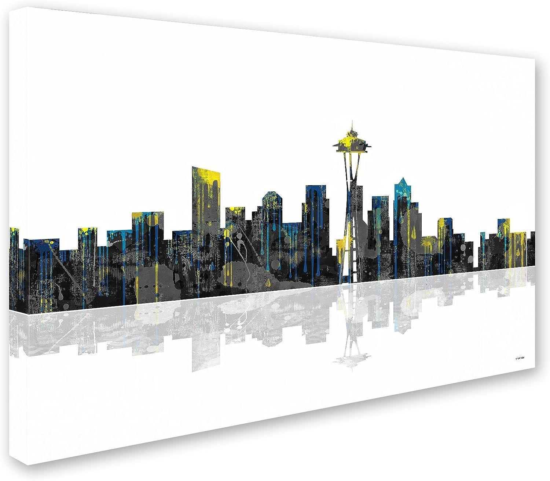 Amazon Com Seattle Washington Skyline Wall Decor By Marlene Watson 30 By 47 Canvas Wall Art Posters Prints