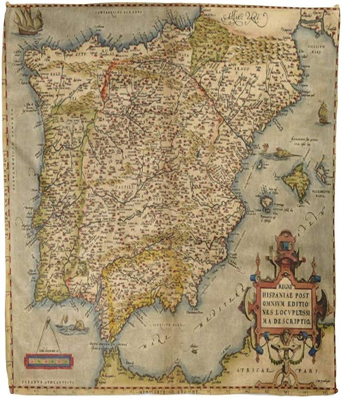 Emvency Manta de Franela diseño Antiguo de Mapa de España por Abraham Ortelius Circa 1570 Portugal Vintage Europe de 60 x 80 Pulgadas, Ligera, acogedora, de Felpa, Suave, cálida y Suave: Amazon.es: Hogar