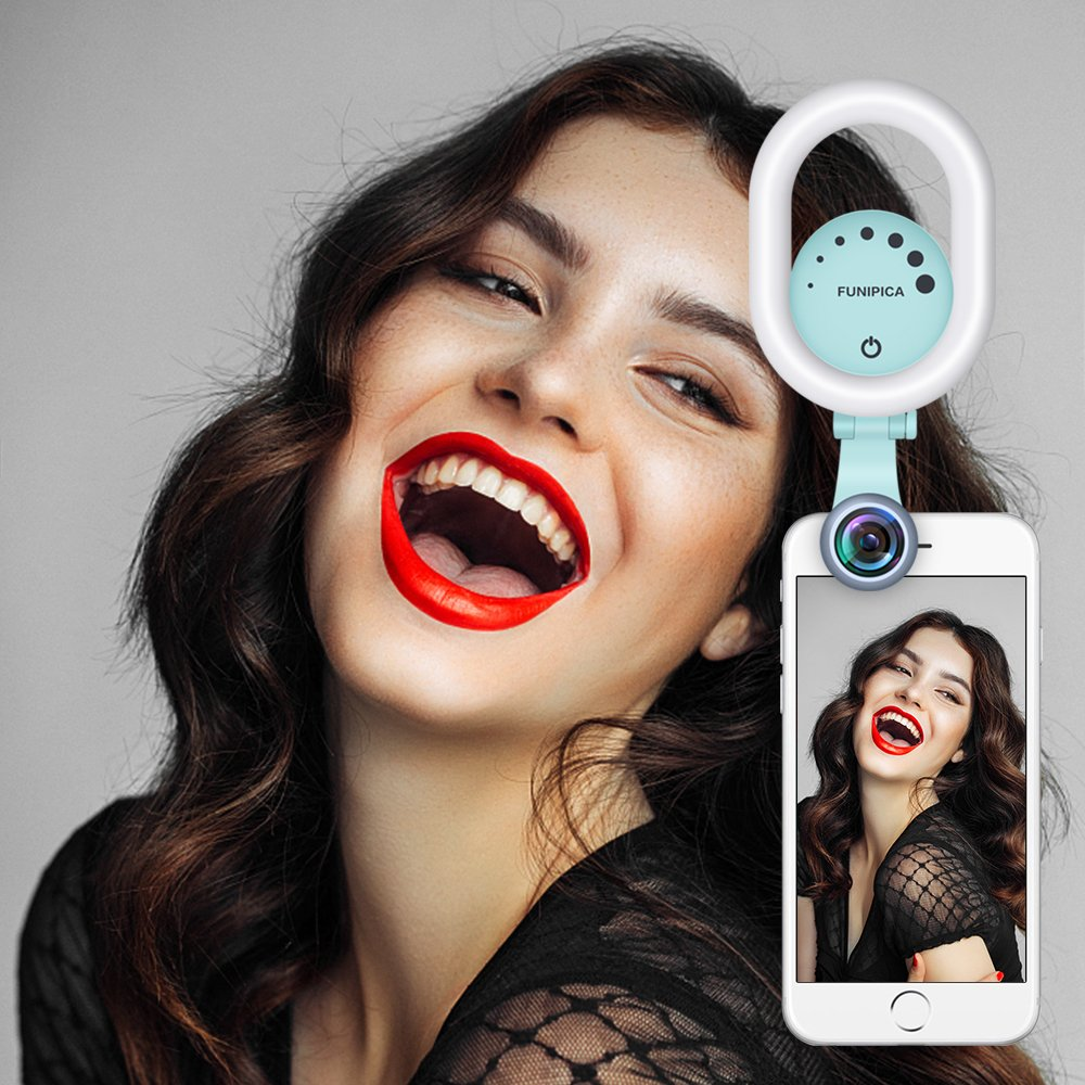 Selfie Ring Light with 120° Wide Angle Lens, Evershop Clip-on Rechargeable LED Selfie Light for iPhone, Samsung, Huawei and all Smartphones/ Tablets (Green) by Evershop