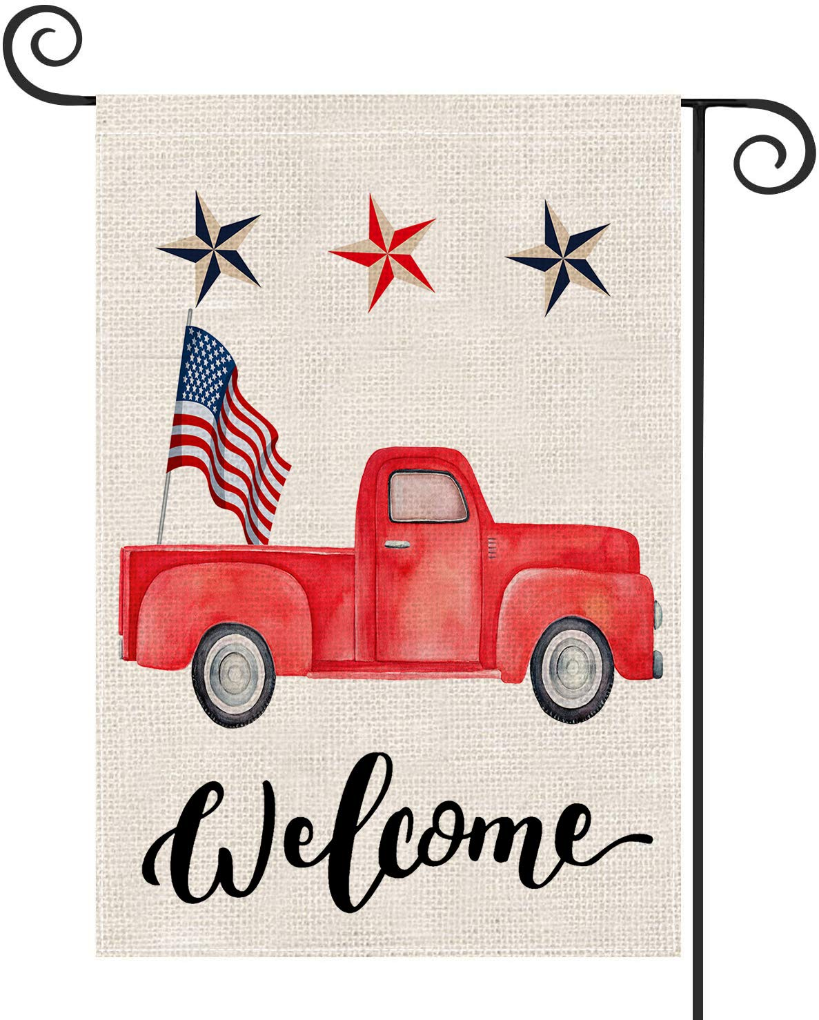 Guaikeai Truck Patriotic Welcome Garden Flag 12.5 x 18 Inch Double Sided Outside Decor for Home Yard Farmhouse