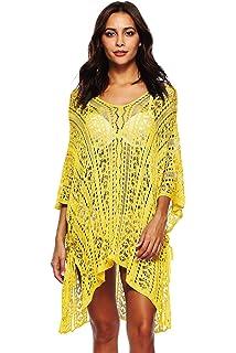 f4e69828 UMIPUBO Mujer Ropa de Baño Crochet Vestido de Playa V Cuello Camisolas y Pareos  Bikini Cover