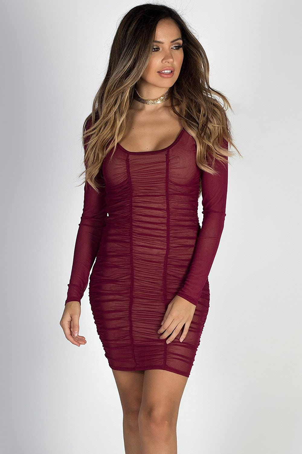 68819a1cd4a0 Babe Society Women's Burgundy Ruched Long Sleeve Mesh Dress Large at Amazon  Women's Clothing store: