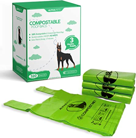 Alpha Pets Compostable Dog Poo Bags With Easy-Tie Handles – 320 Medium-Large Biodegradable Cornstarch Pet Waste Bags – 3 Month Supply