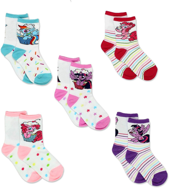 My Little Pony Girls 5 pack Crew Socks (Shoe: 7-10 (Sock: 4-6), White Crew)