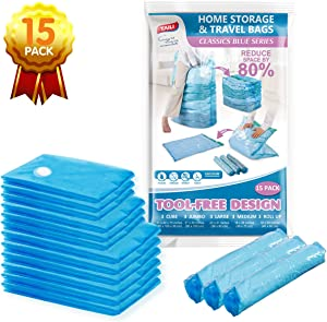 TAILI Vacuum Storage Space Saver Bags Cube 15-Combo Pack Vacuum Sealer Bags for Clothes Bedding Comforter Quilts Pillows-No Pump No Cap 80% Space Saving Design
