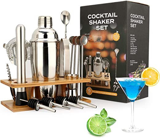 Fashion Cocktail Shaker Set Stainless Steel  Kit Set with Stylish Bamboo Stand
