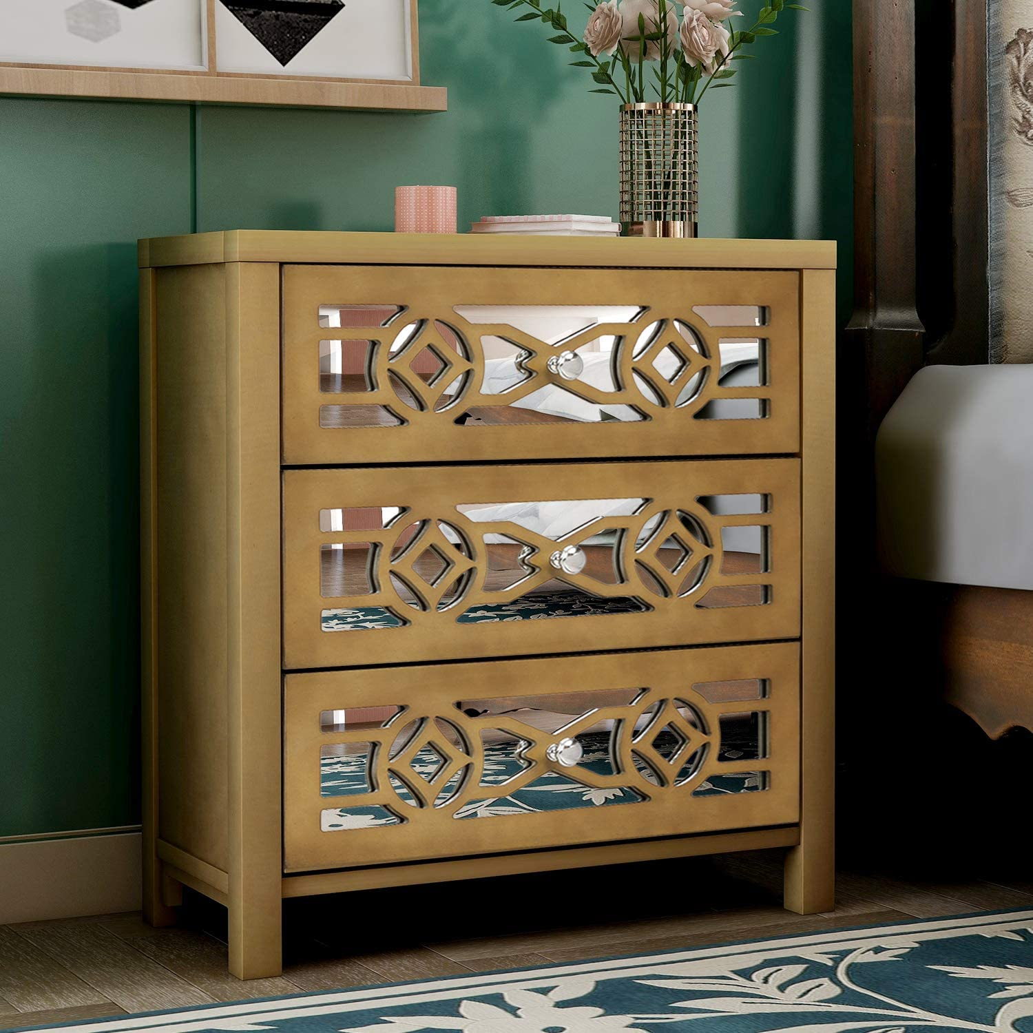 Amazon Com Danxee Wood Accent Buffet Sideboard Serving Storage Cabinet With 3 Drawers And Decorative Mirror Entryway For Bathroom Kitchen Dining Console Living Room Gold Buffets Sideboards