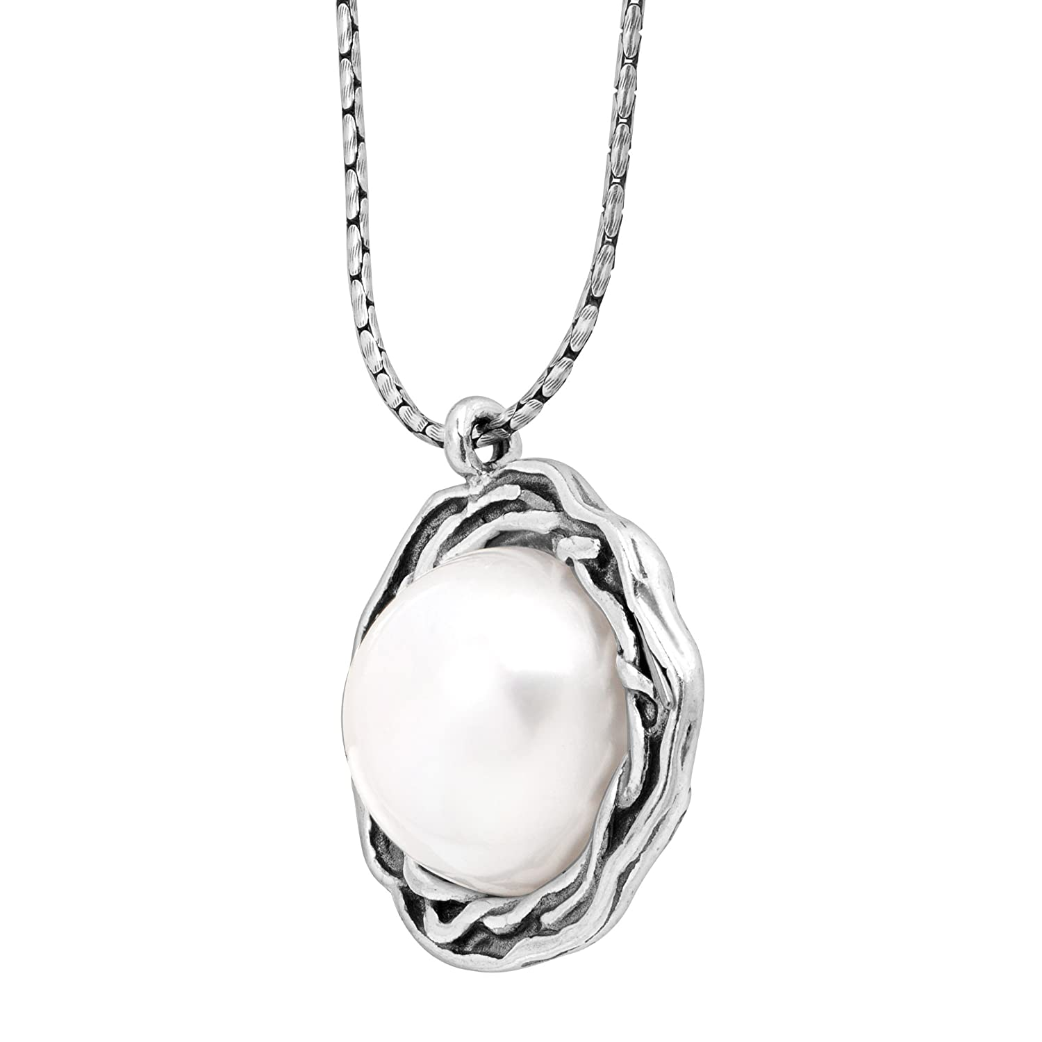 Silpada Return To Roots 11.5-12 mm Freshwater Cultured Pearl Pendant Necklace in Sterling Silver