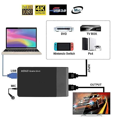 AGPtek USB 3.0 tarjeta de captura de vídeo HDMI HD 1080p 60 ...