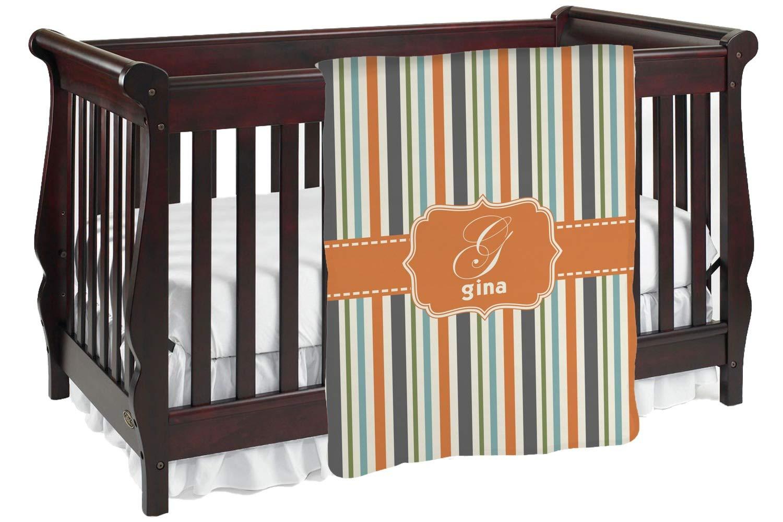オレンジ&ブルーストライプ ベビーブランケット (カスタマイズ可) Baby Blanket オレンジ mi-baby-blanket-fb+171152 両面  B01KIOOVN4